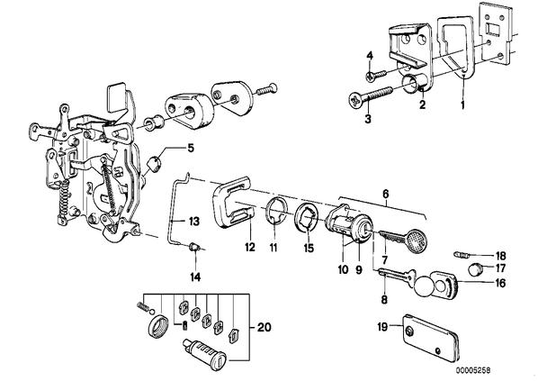 Склад 1. Склад 2. Группы деталей.  Кузов. передняя дверь, Ручка двери Пд/запорный механизм/ключ.  Номер.