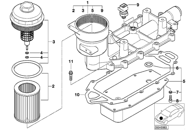 7' E65 седан 740d ECE L A - Масляный фильтр смаз.сист.,теплообменник.