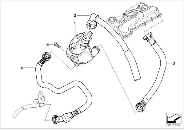 3' E90 седан 320i N46 ECE L N - Система вентиляц.картера/маслоотделитель.